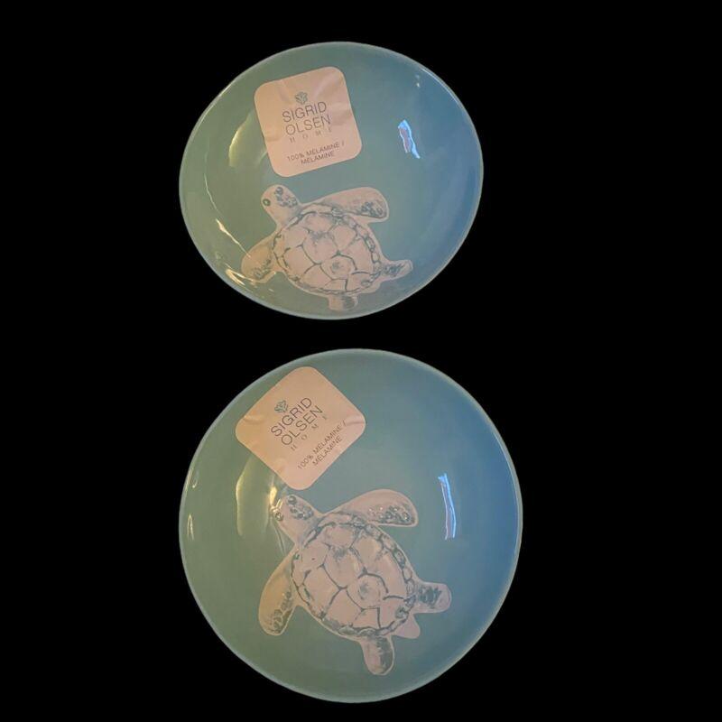 """SIGRID OLSEN Turtle Salad Soup Bowls  Melamine Set of 2 -  7.5"""" Wide New"""