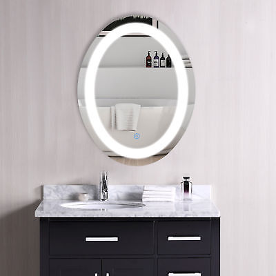 Oval Mirror (LED Bathroom Wall Mount Mirror Illuminated Lighted Vanity Mirror W/Touch)