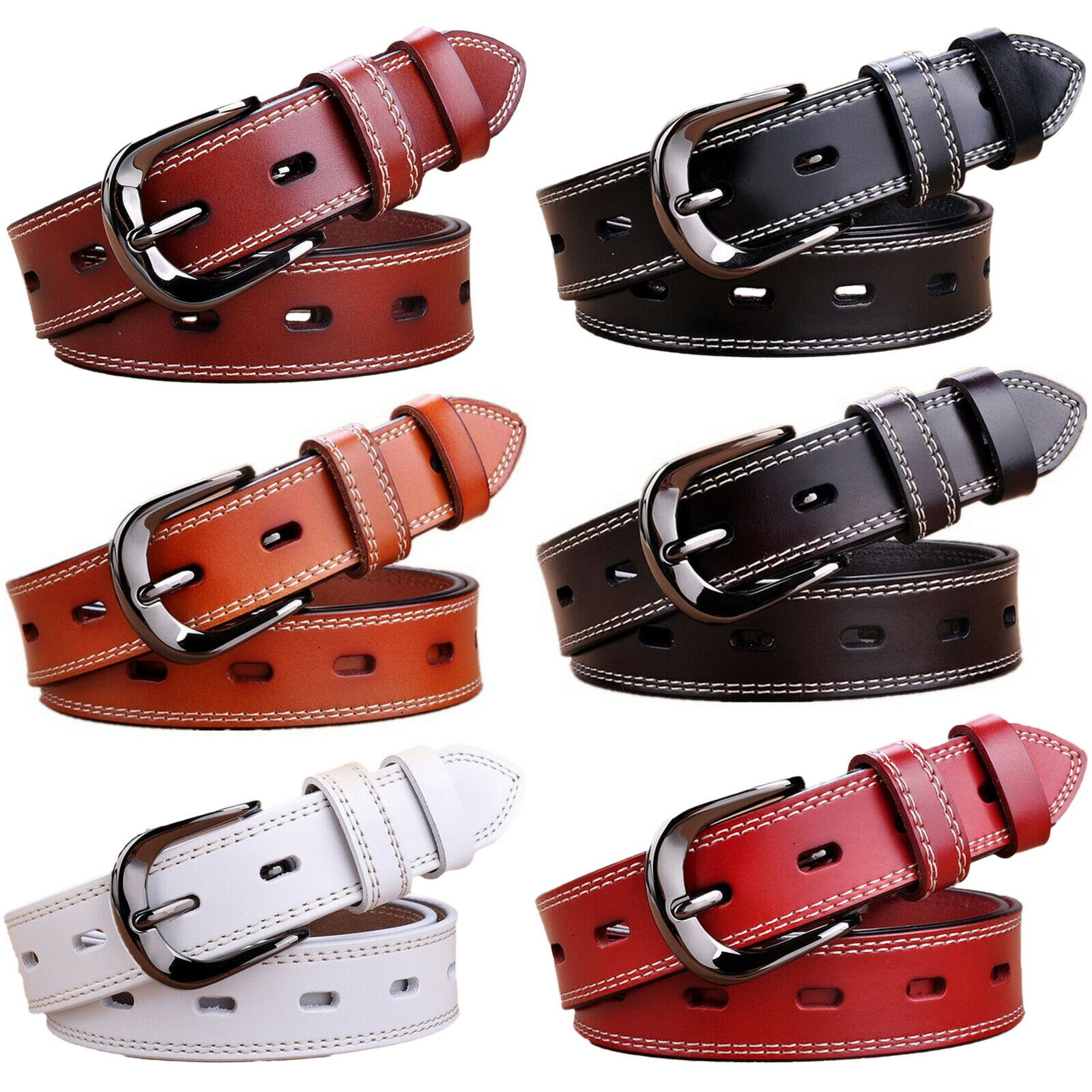 Women's Metal Buckle Handcrafted Double Stitched Genuine Leather Jean Belt Belts