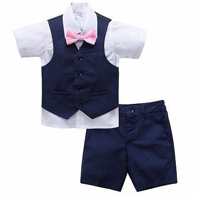 Page Boy Christening Wedding 4pc Short Linen Blend Navy Blue Suit 6 Ms - 5 Yrs - Boys Linen Short Suit