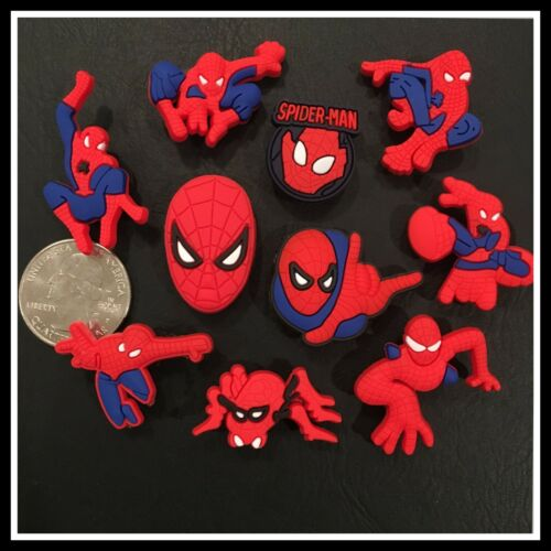 SET of 10 Shoe Charms for Crocs SPIDER-MAN Super Hero Spiderman Avengers Comic