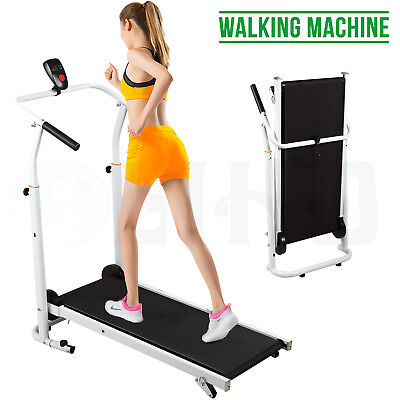 Portable Folding Manual Treadmill Incline Walking Running Fitness Gym Machine BN