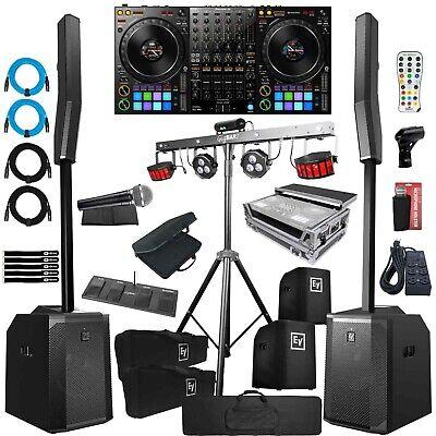 Evolve 50 Speaker Systems Pair Black w Pioneer DDJ-1000 DJ Controller Gig Pack