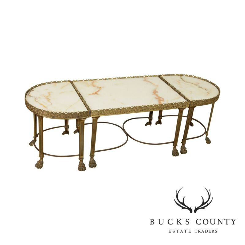 French Empire Style Vintage Marble Top 3 Piece Coffee Table