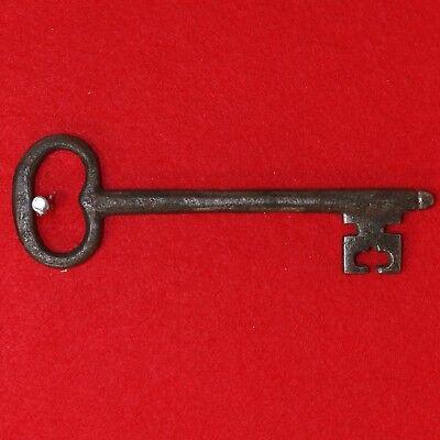 Antique KEY 18th C. English Castle Door Church Jail House Lock SPADE SHAPED BIT
