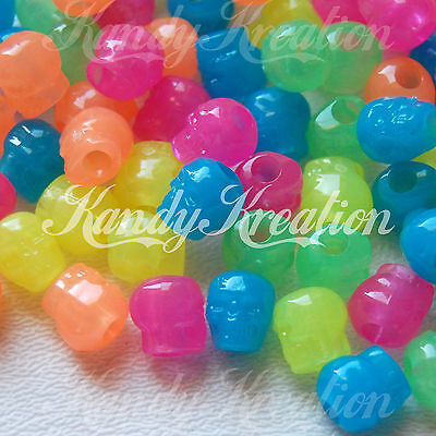 100 Rainbow Glow in the dark Skull pony bead for kandi crafts Halloween Paracord
