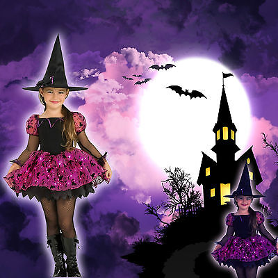 Light-up Moonlight Witch Costume & Hat Halloween Girls Fibre Optic Toddler 3-4y