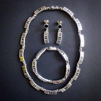 Heavy Taxco 925 Sterling Silver Enamel Maze Bracelet Necklace Earring Set MEXICO