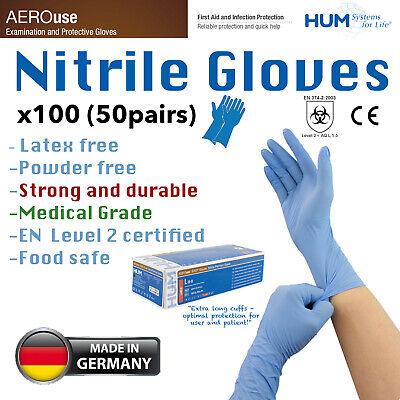 100 Medical Grade Disposable Gloves, Powder Free, Nitrile , Latex Free,UK Seller