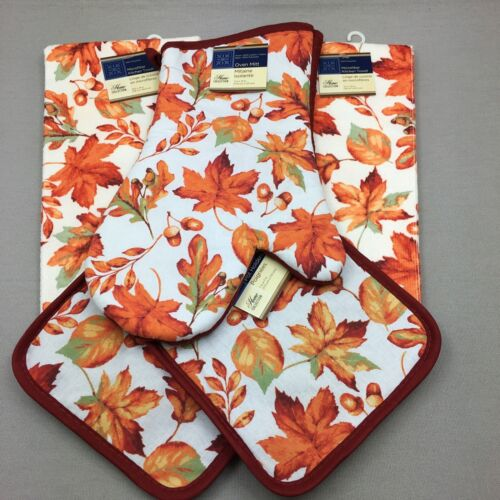 Home Collection Kitchen Set 5 Pieces Fall Leaves Oven Mitt P