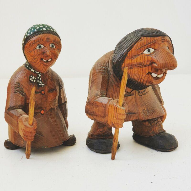 RARE TROLL COUPLE ANTON OTTO SVEEN NORWAY ØIEN  Handcarved birchwood figures