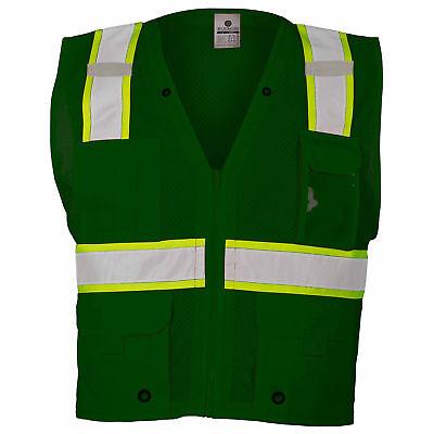 ML Kishigo Non-ANSI Reflective Mesh Safety Vest with Pockets, Green