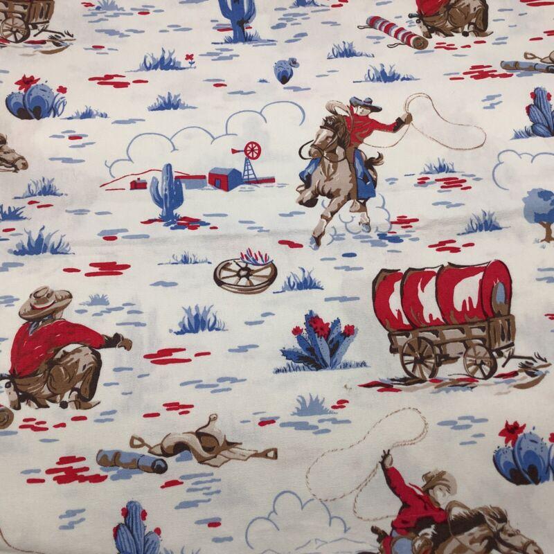 "Vintage Western Wagons Cowboys Homestead Heavy Cotton Fabric 43"" x 58"". HTF"