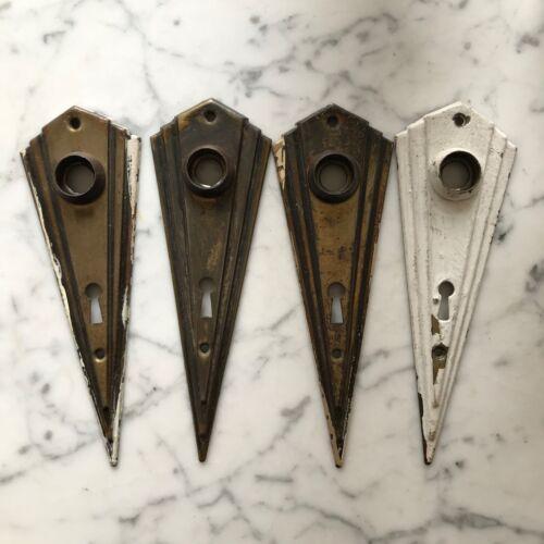 Antique Art Deco brass door plates 4 pieces vintage hardware