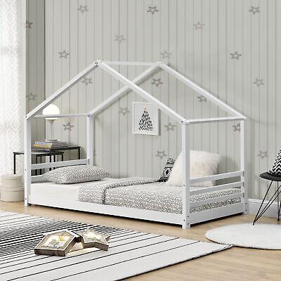 [en.casa] Kinderbett 90x200cm Haus Holz Weiß Bettenhaus Hausbett Kinder Bett