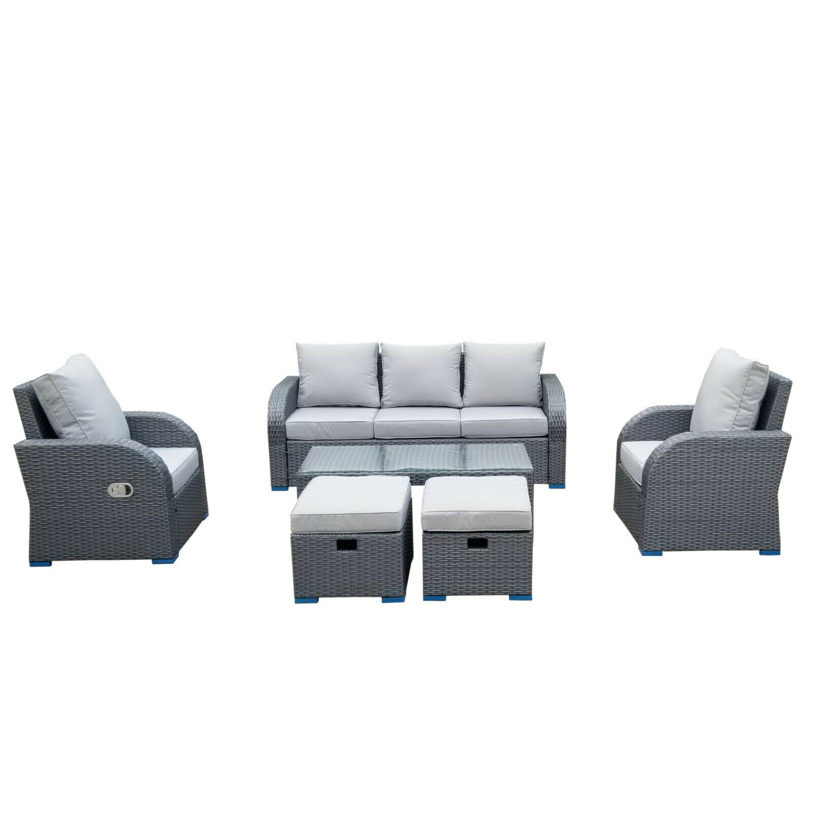 Garden Furniture - Grey Outdoor Rattan Garden Furniture Patio Sofa Chair Set Conservatory.