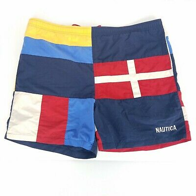 Vintage Nautica Swim Trunks Color Block Patchwork Board Shorts Mens Sz Large L
