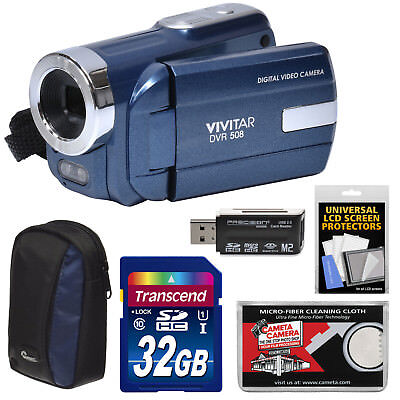 Vivitar DVR-508 HD Digital Video Camera Camcorder Kit Blue