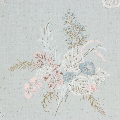 1950s Vintage Wallpaper Pink Flowers Blue White Leaves on Blue