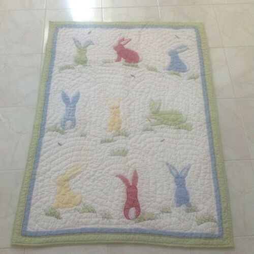 """Pottery Barn Kids Quilted Crib Blanket Rabbits Embroidered Unisex 36"""" x 49"""" ^"""