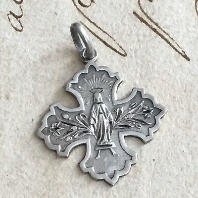 Medal Pendant Religious Virgin Marie Solid Silver 1900 Silver - Medal
