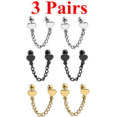 6pcs Steel Heart Chain Industrial Helix Cartilage Bar Barbell Earring Ear Studs Chain Heart Barbell