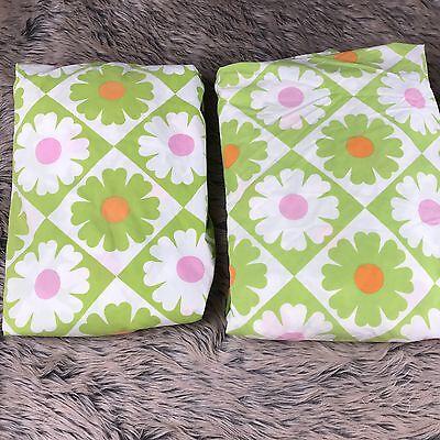 vtg Twin Flat & Fitted Sheet Fieldcrest Green floral Flower Power Mod 60s