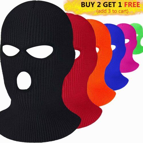 Men Women Face Mask Winter Warm Ski Cap 3Hole Balaclava Beanie Hat Hood Tactical