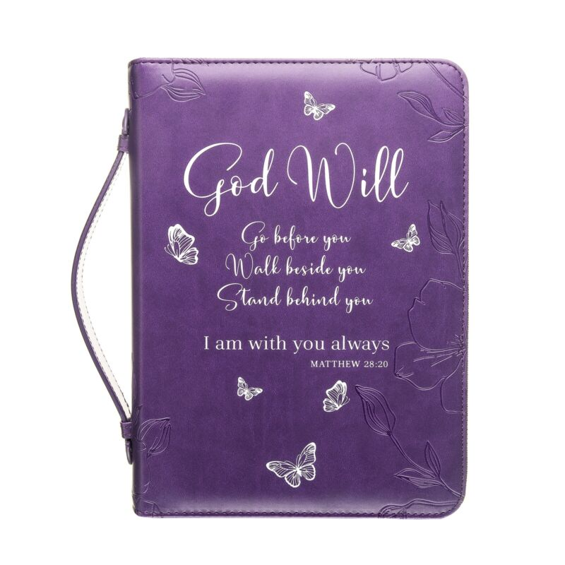 Woman Blessing Bible Cover Large Purple Butterfly Zippered Handle 8x5.5x1.5 Inch