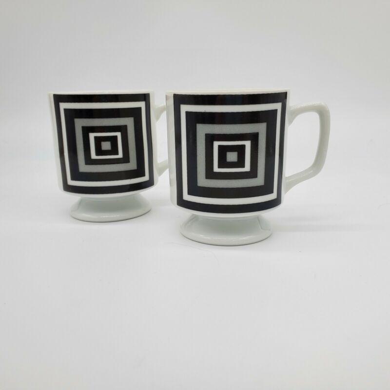 Mid Century Vintage Retro Set of 2 Pedestal Coffee Mug Tea Cup Geometric Mod