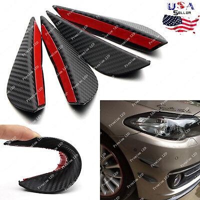 4x Carbon Fiber Pattern Black Spoiler Front Bumper Canards Splitter Trim Lip Kit