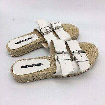 ZARA Leather Buckle Strap, Womens White Sandals, Size 6.5-7.0 Euro 37