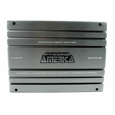 Pyramid 2000 Watt 4 Channel MOSFET Power 2 Ohm Stable Car Amplifier | PB618