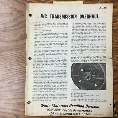 White Motor Corp. Wc Transmission Overhaul Shop Service Manual Fork Lift Truck