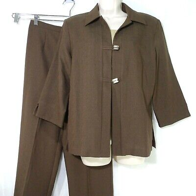 Sag Harbor Textured Pants Suit Women Size 10 Brown Tan Long Sleeve