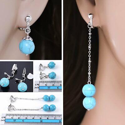 #E122T CLIP ON NON-PIERCED Earrings Dangle 10mm Turquoise Stone Bead Ball Women