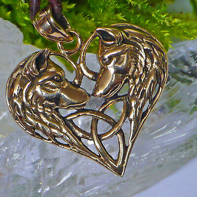 Keltisches Herz Amulett Wolfköpfe + Lederschnur Bronze Schamanen Krafttier Wolf