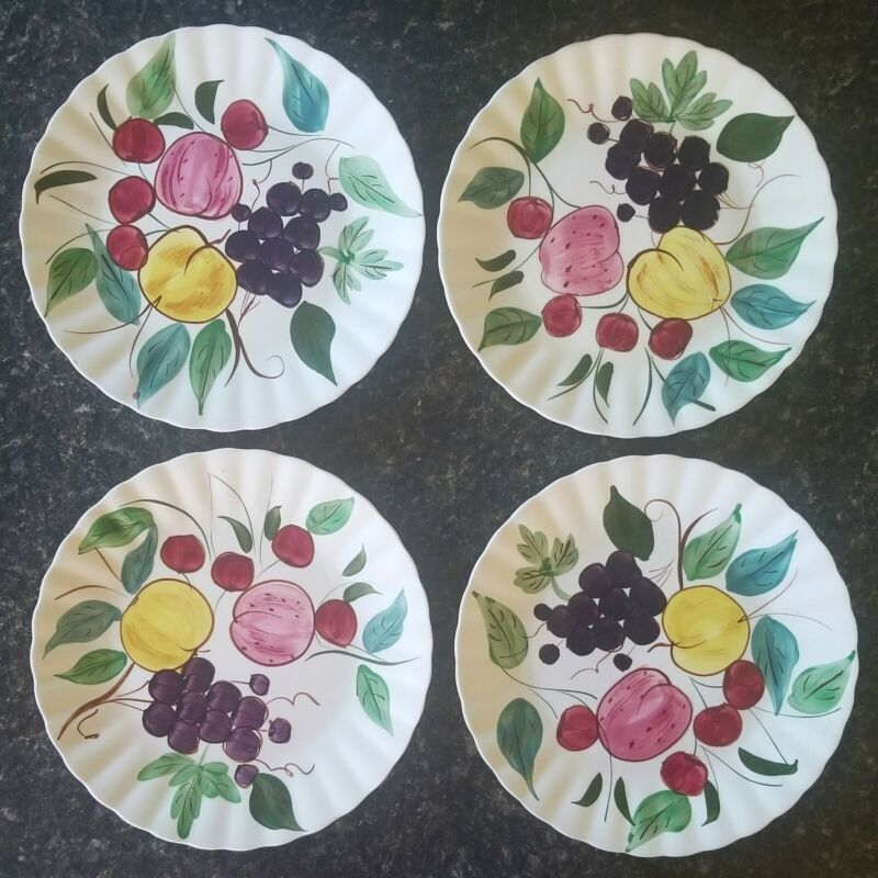 """BLUE RIDGE SOUTHERN POTTERY HAND PAINTED PLATES """"FRUIT PUNCH"""" - SET OF 4"""