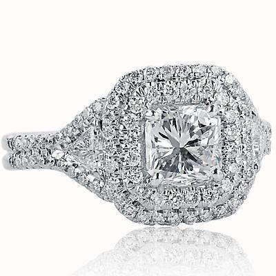 1.93 Carat Radiant Cut Diamond Engagement Halo Ring w/ Trillions 18k White Gold