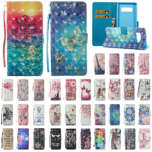 For Samsung Note 9/8 S9+ Pattern Shockproof Flip Card Wallet