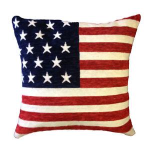American Flag Stars & Stripes Chenille Cushion Cover18x18