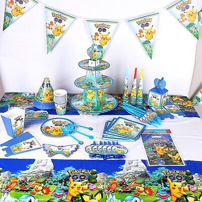 POKEMON BIRTHDAY PARTY DECORATION TABLE COVER PLATES CUPS NAPKINS TABLE WEAR