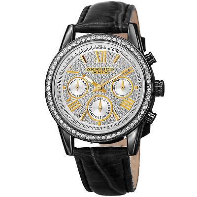 Women's Akribos XXIV AK871BK Silver-tone Multifunction Crystal Pave Strap Watch