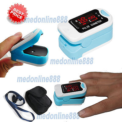 Free Pouchlanyard Finger Pulse Oximeter Blood Oxygen Spo2 Pr Heart Rate Monitor