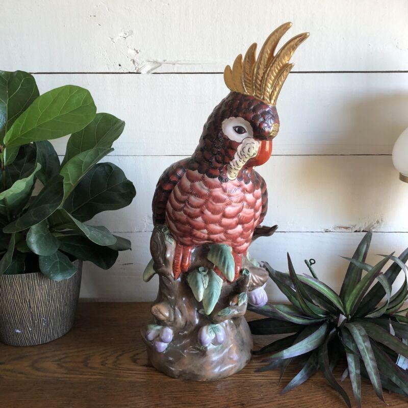 Vintage Large Cockatoo Parrot Ceramic  Porcelain Sculpture Hand painted Red Gold