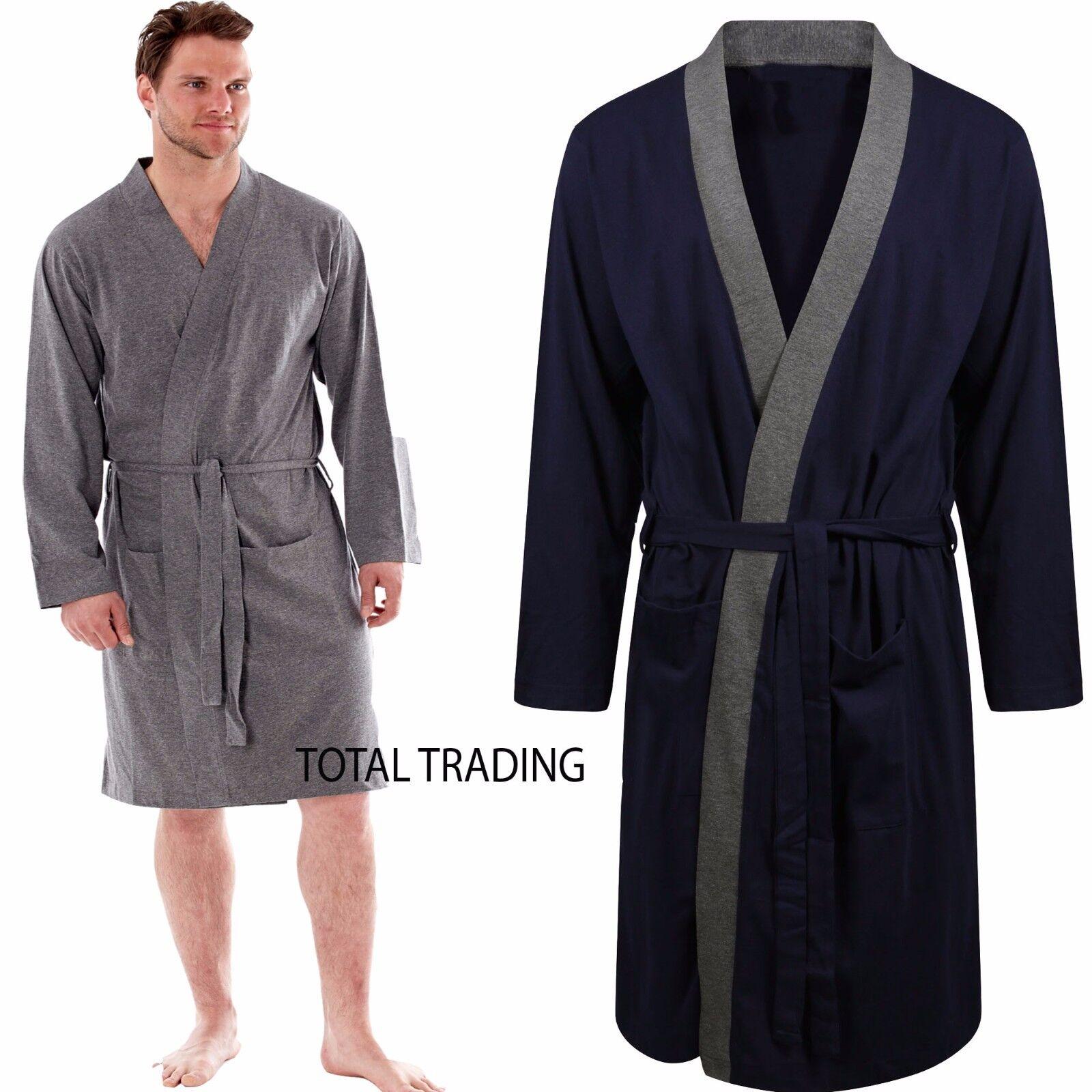 Mens Robe Dressing Gown Kimono Cotton Bathrobe 40 42 44 46 Jersey
