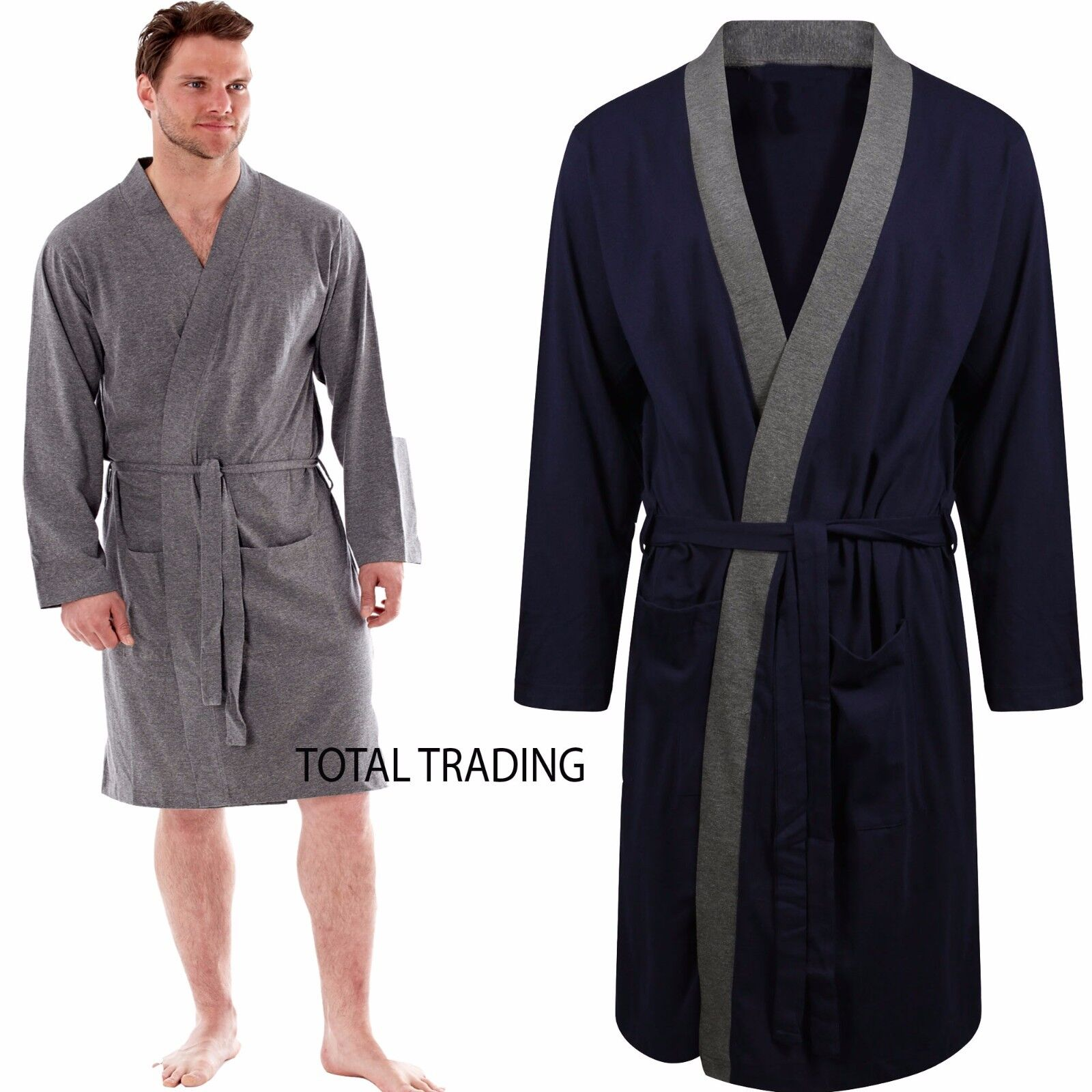 c6d143fedc Mens Dressing Gown Gowns Robe Cotton rich Jersey Summer Lighweight dx