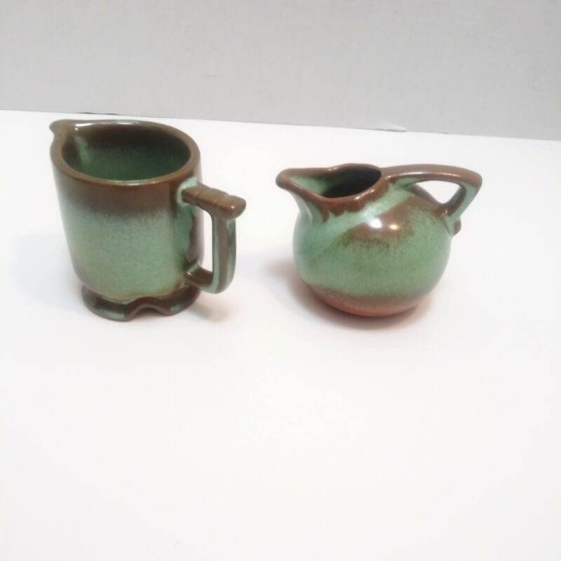 Frankoma Prarie Green Pair of Small Creamers