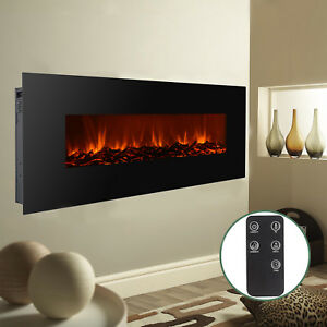 Wall Mount Electric Fireplace Heater Remote Adjustable Heating Modern 50
