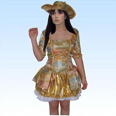 Edles Sexy Barock Kostüm Renaissance GOLD Gr. XS/S Theaterkostüm Fasching Kleid